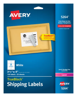 Avery 5264 Shipping Labels Permanent Adhesive 150 Labels Averycom