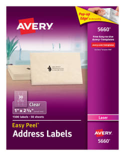 Avery Easy Peel Address Labels Clear 1500 Labels 5660 Averycom