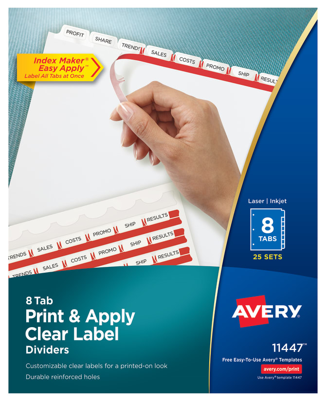 Avery Print Apply Dividers 25 Sets 11447 Averycom