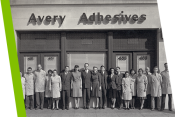 Historical Avery employees posing in front of office