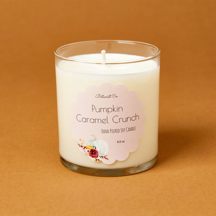 candle science pumpkin caramel crunch candle scent featuring avery candle label