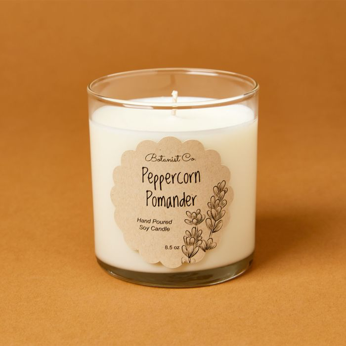candle science Peppercorn pomander candle scent featuring avery candle label