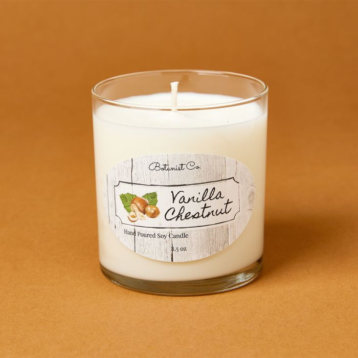 candle science Vanilla chestnut candle scent featuring avery candle label
