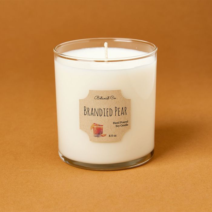 candle science brandied pear candle scent featuring avery candle label