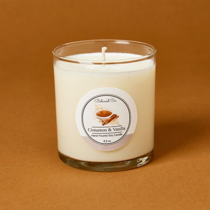candle science cinnamon vanilla candle scent featuring avery candle label