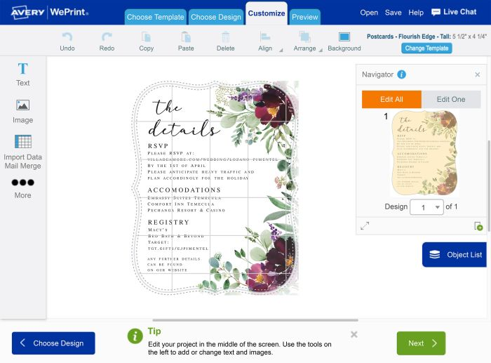 A graphic designer users Avery WePrint to handle her wedding invitation printing for clients