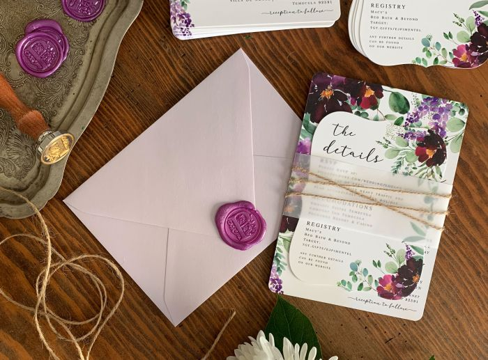 Add special finishing touches to printed wedding invitations to make them unique