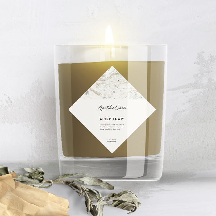 A candle label trend is to use a square Avery label and turn it 90 degrees to create a diamond label to brand your candles