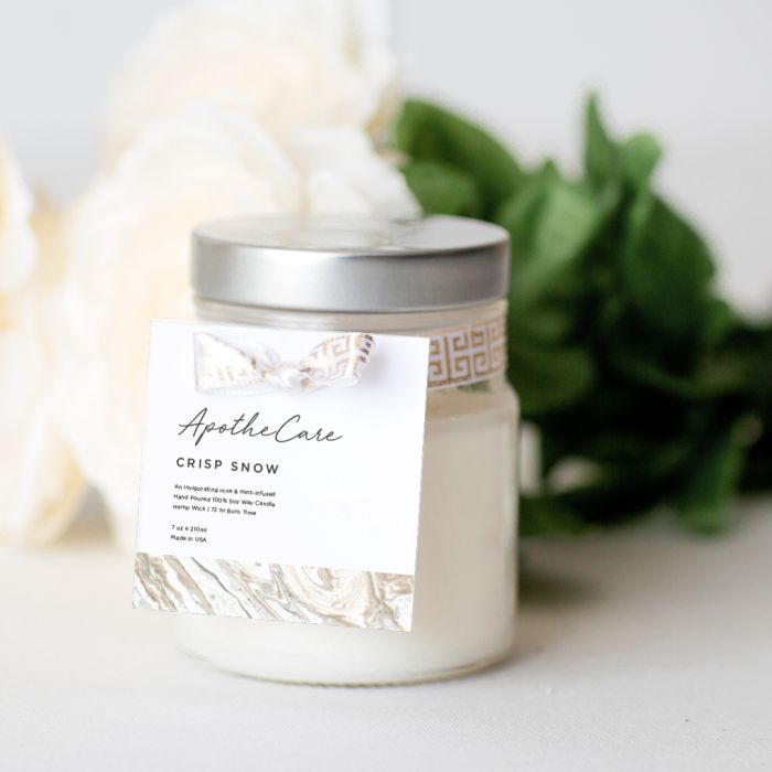 use a custom hang tag instead of a candle label to brand your candle jars and tins