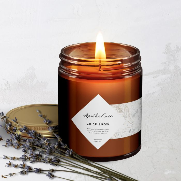 Take different shape labels and overlap them on your candle