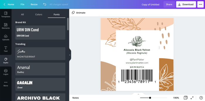 Canva is great label design software for creating product labels