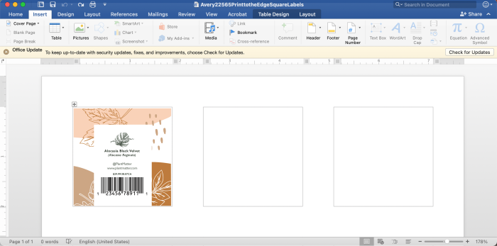Create product labels with Microsoft word templates