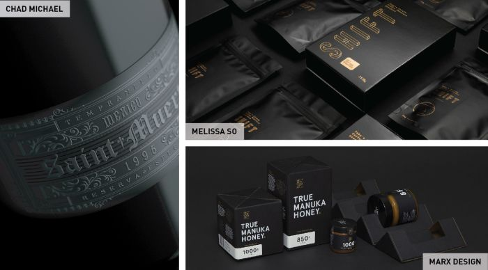 Black product labels and packaging are very popular this year