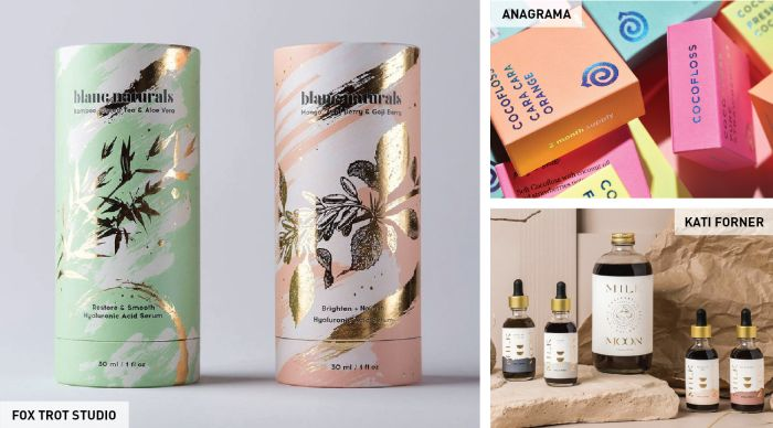 try using metallic labels and accents on your packaging