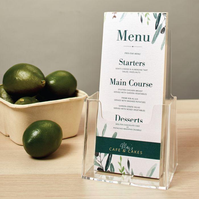 Use custom rack cards as menu cards for your restaurant