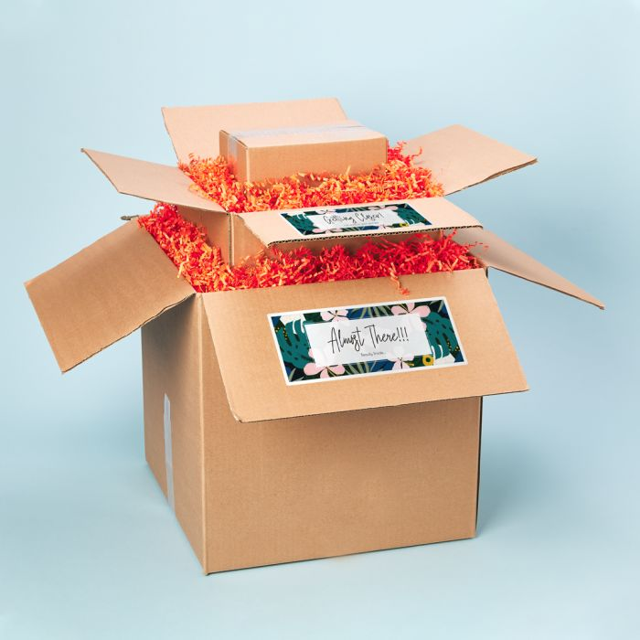 2 Shipping boxes nested inside a third with Avery Shipping Labels