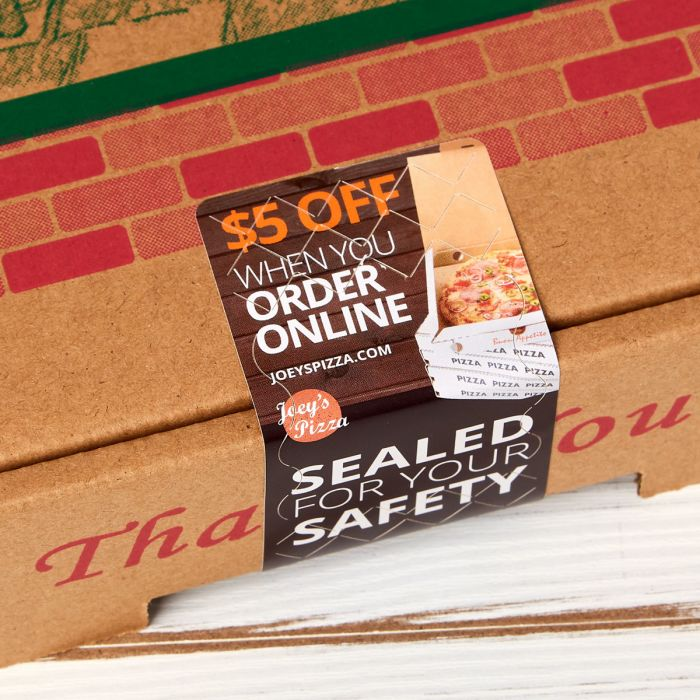 """Use 2"""" x 4"""" or 2"""" x 6"""" tamper evident labels for pizza boxes, sandwich boxes and other delivery items."""