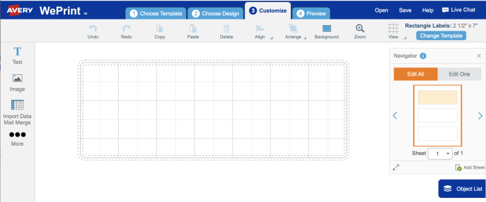 open a free avery template to start creating variable data labels