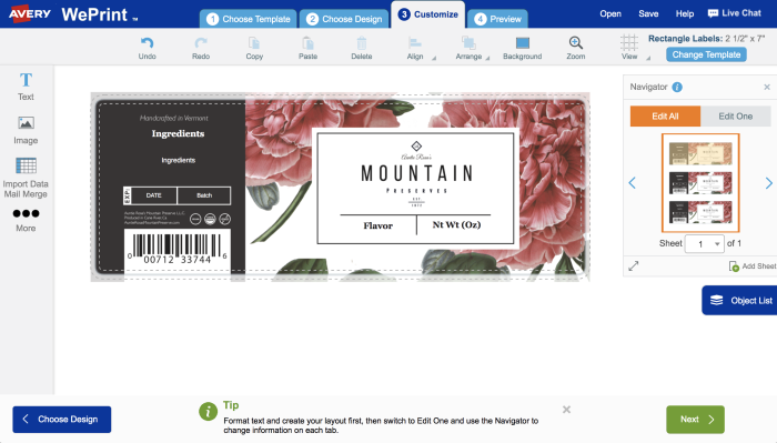Upload your artwork into Avery Design & Print to begin personalizing your product labels