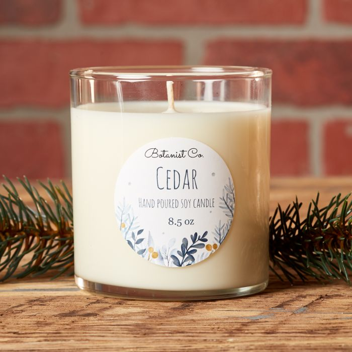 Cedar scented candle with a two inch round label  from Avery