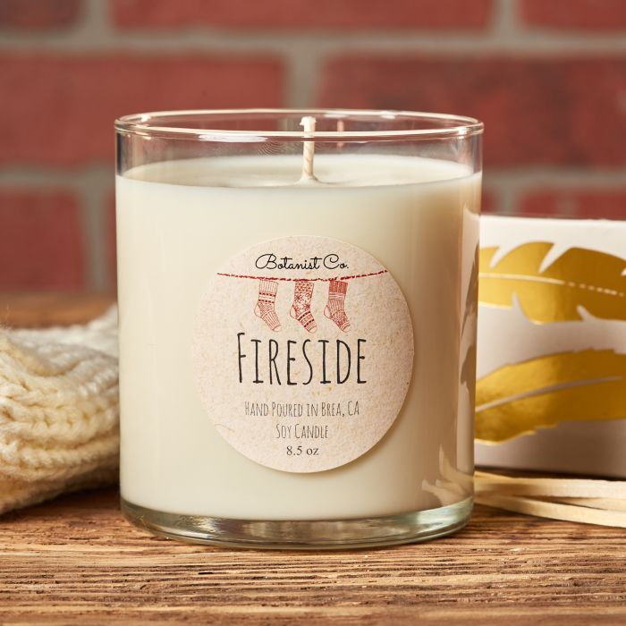 "One of top 10 holiday candle scents is Fireside featuring a 2"" round label from Avery and fragrance oil from CandleScience"