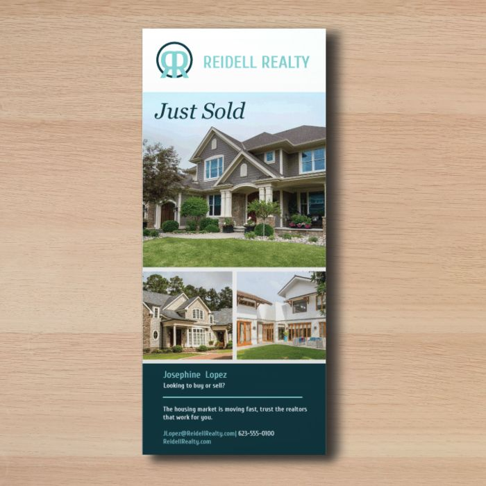 Custom rack cards are great to use as real estate cards to showcase home sales