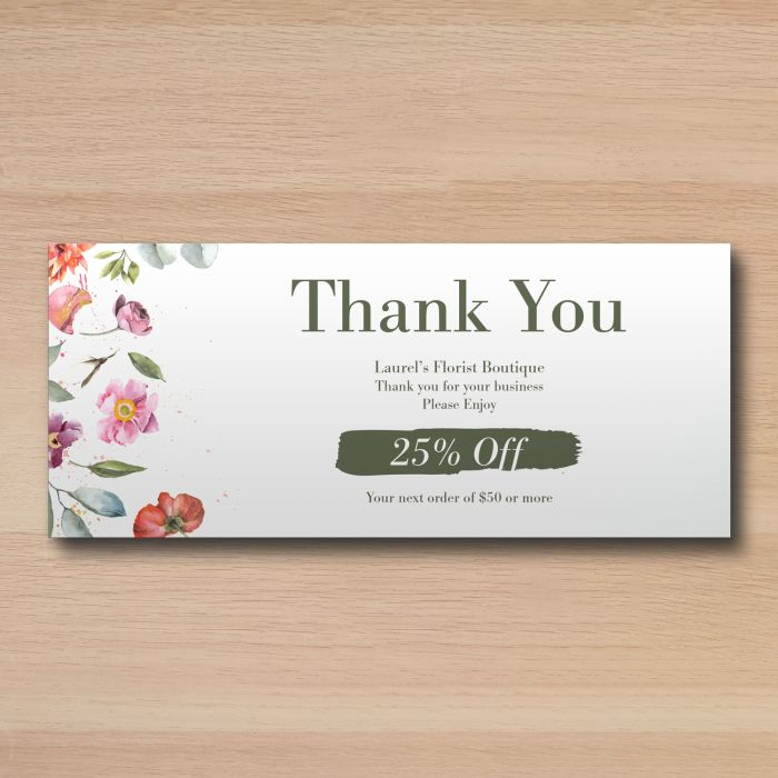 Send thank you cards to customers and clients using custom rack cards.