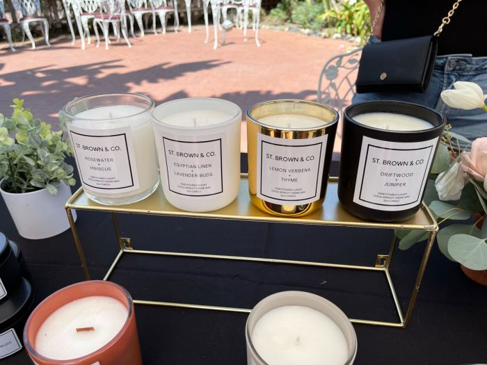 St. Brown & Co. candles on display in San Juan Capistrano