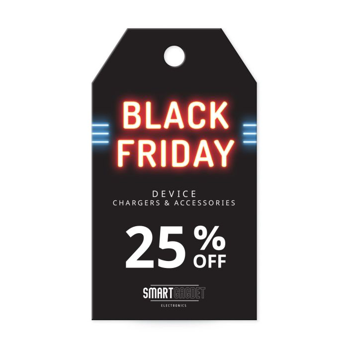"""Black Friday sales template for 3-1/2"""" x 2"""" hang tag"""