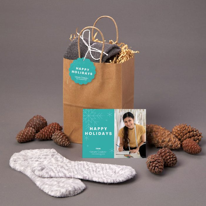 Give an inexpensive gift to clients with this great idea of socks and a scarf