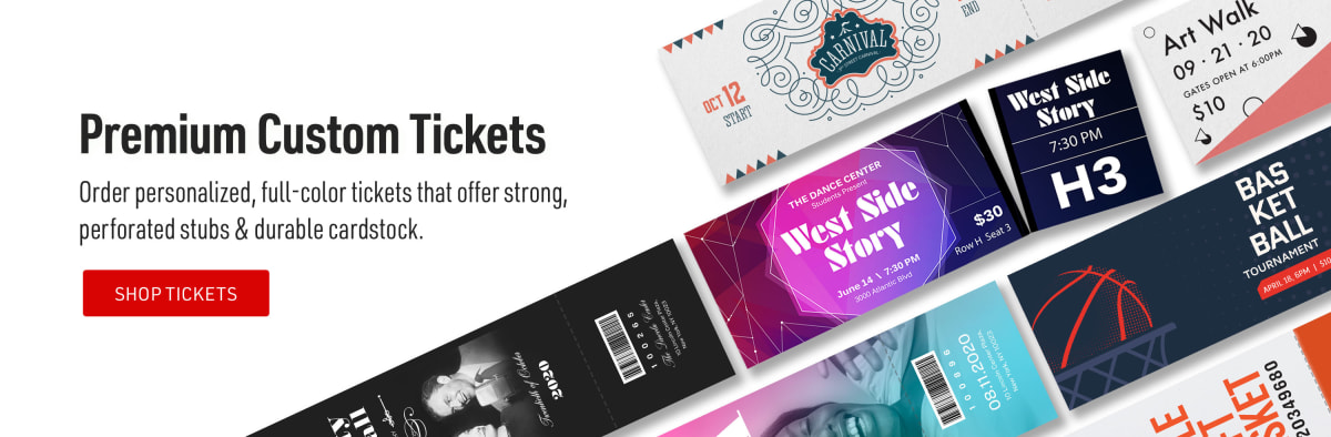 Premium Custom Tickets. Order personalized, full-color tickets that offer strong, perforated stubs & durable cardstock.