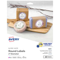 Avery Glossy White Round Labels With Sure Feed 2 Diameter 60 Labels Permanent Adhesive 22817 Avery Com
