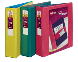 avery two tone durable view binder 500 sheet capacity assorted