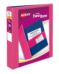 avery two tone durable view binder 375 sheet capacity assorted