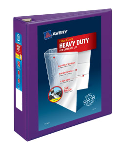 avery heavy duty view binder 500 sheet capacity purple 79777