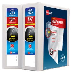 avery heavy duty view binder 600 sheet capacity 2 binders white