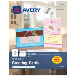 avery half fold greeting cards 5 1 2 x 8 1 2 20 cards 3265