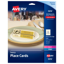 picture relating to Avery Printable Place Cards identified as Avery® Position Playing cards, Uncoated, Ivory, 2-Sided Printing, 1-7/16\