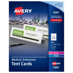 Avery medium printable tent cards uncoated 100 cards 5305 avery medium tent cards embossed uncoated two sided printing 2 12 x 8 12 100 cards 5305 pronofoot35fo Images