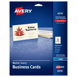 Avery printable business cards 2 x 3 12 250 cards 8376 avery media1 fbccfo Images