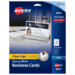 Avery clean edge business cards glossymatte back 200 cards 8859 media1 reheart Image collections