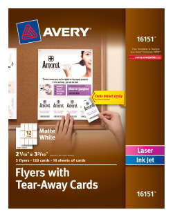 avery flyers with tear away cards 2 1 10 x 3 3 10 120 cards