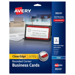 avery clean edge rounded corner business cards matte 160 cards