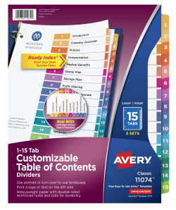 Avery Customizable Table of Contents Dividers 15 Tabs Multicolor ...