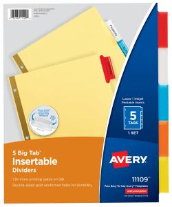 Avery Big Tab Insertable Dividers Buff Paper 5 Tab Set Multicolor 11109