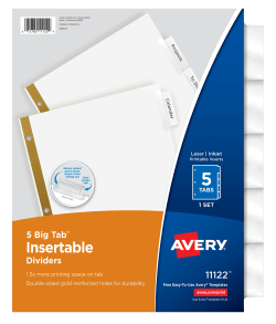Avery big tabtrade insertable dividers 5 tab set 11122 avery media1 pronofoot35fo Image collections
