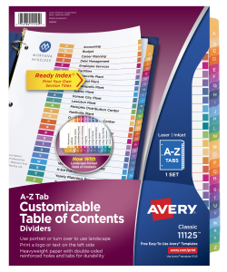 avery customizable table of contents dividers a z multicolor 11125