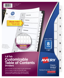 Avery customizable table of contents dividers 8 tab set 11132 avery customizable table of contents dividers ready index printable section titles preprinted 1 8 white tabs 1 set 11132 saigontimesfo