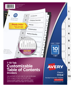 photograph about Avery Printable Tabs called Avery® Customizable Desk of Contents Dividers, Geared up Index® Printable Component Titles, Preprinted 1-10 White Tabs, 1 Fixed (11134)