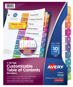 Avery Customizable Table Of Contents Dividers 10 Tab Set Multicolor